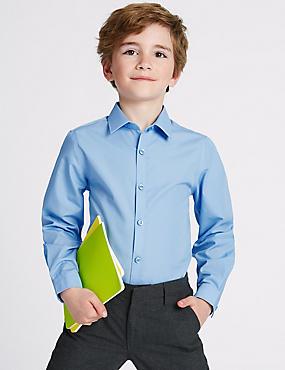 Set van 2 strijkvrije jongensoverhemden met slanke pasvorm, BLAUW, catlanding