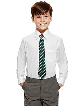 2 Pack Boys' Pure Cotton Ultimate Non-Iron Long Sleeve Shirts, WHITE, catlanding