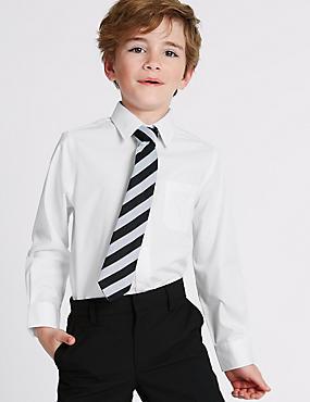 Set van 2 puur katoenen strijkvrije overhemden voor jongens, WIT, catlanding