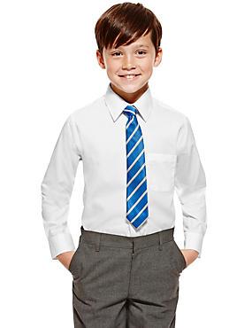 2 Pack Boys' Pure Cotton Long Sleeve Skin Kind™ Shirts, WHITE, catlanding