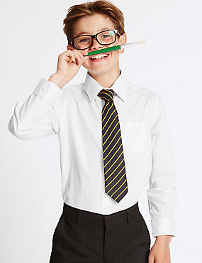 Set van 2 puur katoenen Skin Kind-overhemden voor jongens, WIT, catlanding