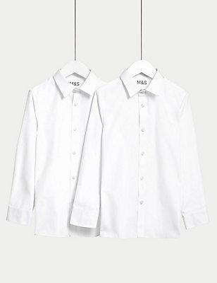 Set van 2 overhemden met skinny pasvorm voor oudere jongens, WIT, catlanding