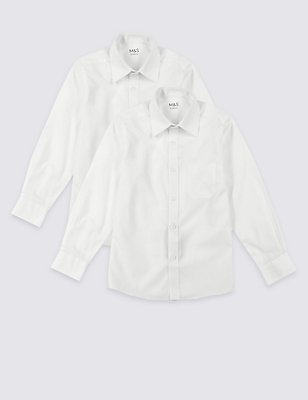 2 Pack Boys' Easy Dressing Non-Iron Shirts, WHITE, catlanding
