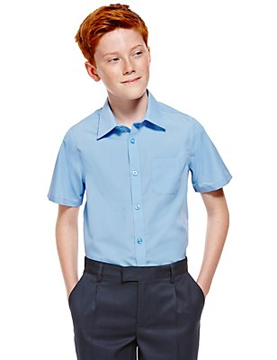 2 Pack Boys' Ultimate Non-Iron Short Sleeve Shirts with Stain Away™, BLUE, catlanding