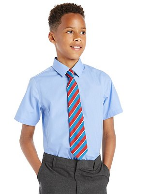 Slim Fit 2 Pack Boys' Ultimate Non-Iron Short Sleeve Shirts with Stain Away™, BLUE, catlanding