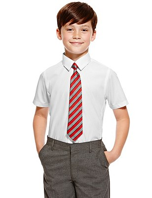 Slim Fit 2 Pack Boys' Ultimate Non-Iron Short Sleeve Shirts with Stain Away™ (Older Boys), WHITE, catlanding
