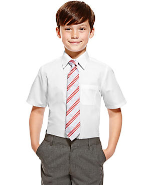 2 Pack Boys' Pure Cotton Ultimate Non-Iron Short Sleeve Shirts, WHITE, catlanding