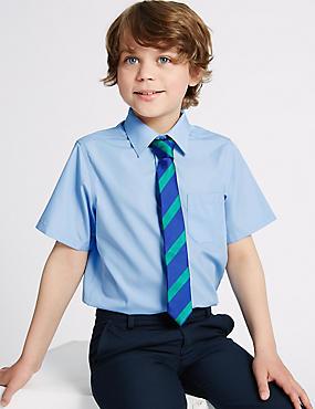 Set van 2 strijkvrije overhemden voor jongens, BLAUW, catlanding