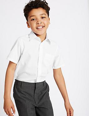 Set van 2 strijkvrije overhemden voor jongens, WIT, catlanding