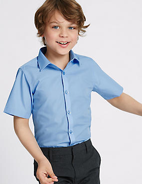 2 Pack Boys' Slim Fit Non-Iron Shirts, BLUE, catlanding