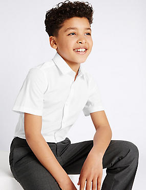 Boys' 2 Pack Slim Fit Non-Iron Shirts, WHITE, catlanding