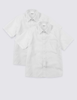 2 Pack Boys' Easy Close Non-Iron Shirts, WHITE, catlanding