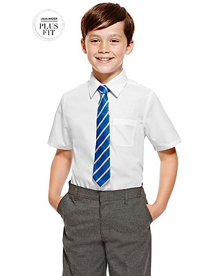 Plus Fit 2 Pack Boys' Ultimate Non-Iron Short Sleeve Shirts with Stain Away™, WHITE, catlanding