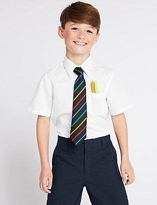 Set van 2 langere, ultiem strijkvrije overhemden voor jongens, WIT, catlanding