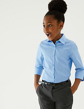 2 Pack Girls' Easy to Iron Blouses, BLUE, catlanding