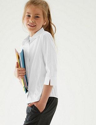 2 Pack Girls' Easy to Iron 3/4 Sleeve Blouses , WHITE, catlanding