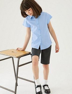 2 Pack Girls' Easy to Iron Cap Sleeve Blouses, BLUE, catlanding
