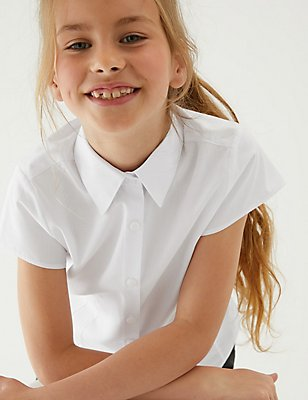 2 Pack Girls' Easy to Iron Blouses, WHITE, catlanding