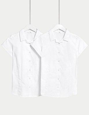 2 Pack Girls' Easy to Iron Cap Sleeve Revere Collar Blouses, WHITE, catlanding