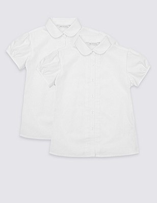 2 Pack Girls' Easy to Iron Pintuck Blouses, WHITE, catlanding
