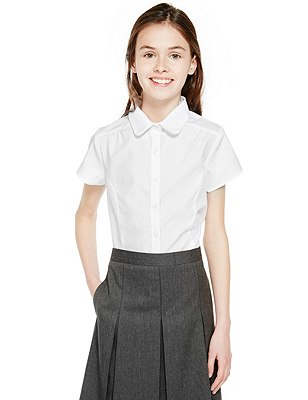 2 Pack Girls' Pure Cotton Easy to Iron Short Sleeve Blouses , WHITE, catlanding