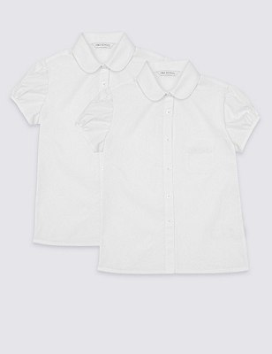 2 Pack Girls' Easy to Iron Puff Sleeve Embroidered Blouses, WHITE, catlanding