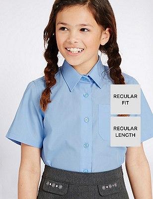 2 Pack Girls' Easy to Iron Short Sleeve Blouses, BLUE, catlanding