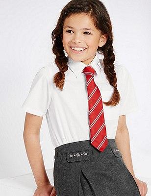 2 Pack Girls' Easy to Iron Short Sleeve Blouses, WHITE, catlanding