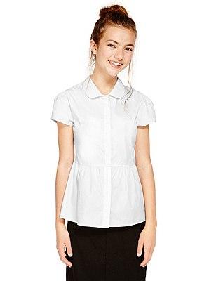 Senior Girls' No Peep™ Easy to Iron Short Sleeve Peplum Blouse (Older Girls), WHITE, catlanding