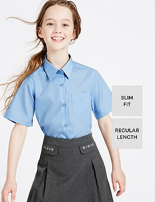 2 Pack Girls' Ultimate Non-Iron Slim Fit Short Sleeve Blouses with Stain Away™, BLUE, catlanding