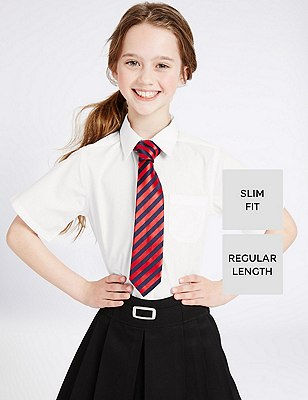 2 Pack Girls' Ultimate Non-Iron Slim Fit Short Sleeve Blouses with Stain Away™, WHITE, catlanding
