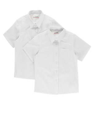 2 Pack Girls' Easy Dressing Blouses, WHITE, catlanding