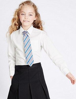 2 Pack Girls' Easy to Iron Long Sleeve Blouses, WHITE, catlanding