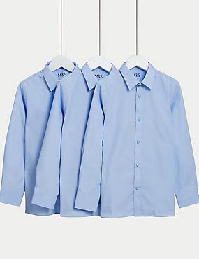 3er-Pack bügelleichte Blusen für Mädchen, BLAU, catlanding