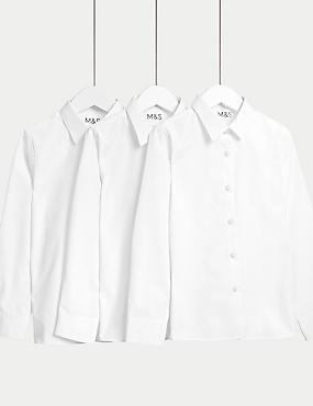 3er-Pack bügelleichte Blusen für Mädchen, WEISS, catlanding