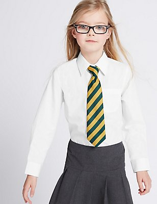 5 Pack Girls' Easy to Iron Long Sleeve Shirts, WHITE, catlanding