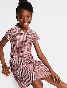 Girls' Skin Kind™ Pure Cotton Gingham Dress, RED, catlanding