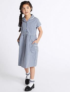 Girls' Skin Kind™ Pure Cotton Gingham Dress, BLUE, catlanding