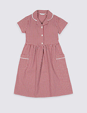 PLUS Gingham Pure Cotton Dress (2-14 Years), RED, catlanding