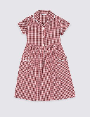 Plus Fit Classic Summer Gingham Checked Dress, RED, catlanding