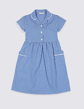 PLUS Girls' Summer Gingham Dress, BLUE, catlanding