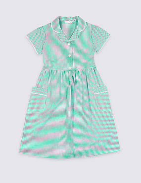 PLUS Gingham Pure Cotton Dress (2-14 Years), GREEN, catlanding