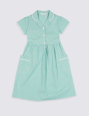 Plus Fit Classic Summer Gingham Checked Dress, GREEN, catlanding