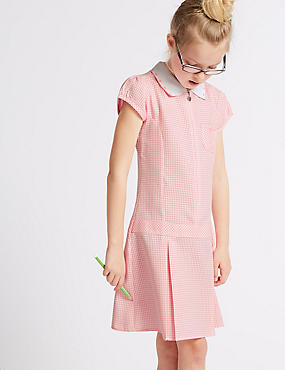 Girls' Pleated Gingham Dress, PINK, catlanding