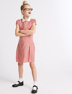 Pleated Summer Gingham Check Dress, RED, catlanding