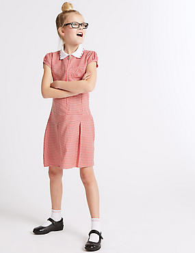 Girls' Pleated Gingham Dress, RED, catlanding