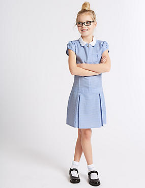 Girls' Pleated Gingham Dress, BLUE, catlanding