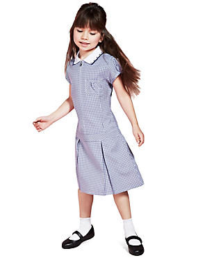 Girls' Pleated Gingham Dress, NAVY, catlanding