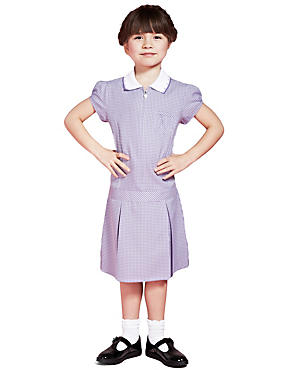 Girls' Pleated Gingham Dress, LILAC, catlanding