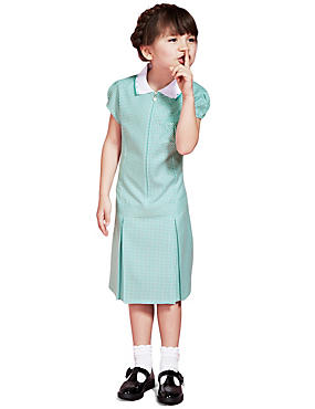Girls' Pleated Gingham Dress, GREEN, catlanding